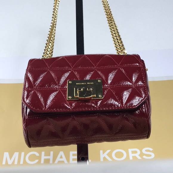 08a492a0dddf Michael Kors Vivianne Cherry Small Shoulder Flap
